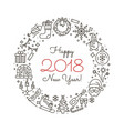 new year outline icons vector image vector image
