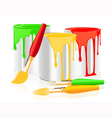Paintbrushes and paintcan vector image vector image