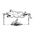 piggy on spit engraving vector image