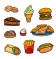 pop art style fast food set vector image vector image