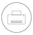 printer icon black color in circle vector image vector image