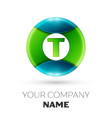 realistic letter t logo symbol in colorful circle vector image vector image