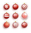 red christmas balls isolated on white set vector image vector image