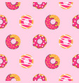 seamless donut pattern pink donuts vector image