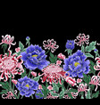 seamless pattern chrysanthemum and peonies vector image vector image