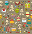 seamless pattern with easter icon on taup vector image vector image