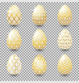 set of golden easter eggs with ornaments vector image