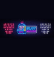 slot machine neon sign casino design vector image vector image