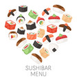 sushi bar menu japanese traditional cuisine dishes vector image vector image
