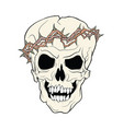 the skull of a grinning vampire in thorns wreath vector image