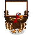 turkey cartoon with blank board vector image vector image