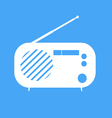 vintage radio on blue background vector image vector image