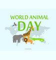 world animal day concept background flat style vector image vector image