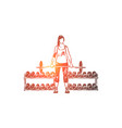 young woman in sportswear working out with barbell vector image vector image