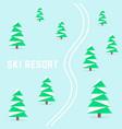 ski resort with downhill skiing vector image