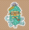 cartoon hipster head vector image