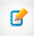 pencil and notepad icon vector image