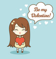 cute girl holding heart and speech bubble with vector image