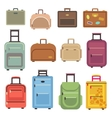 Travel luggage bag suitcase flat icons vector image