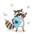 baby raccoon waving goodbye vector image