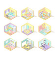 big set of isometric home interiors vector image vector image