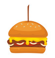 burger served in restaurant or diner fastfood vector image