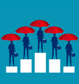 business people and red umbrella concept business vector image vector image