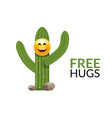 cactus free hugs print funny cute vector image vector image