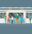 cartoon people standing in subway train card vector image vector image