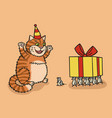 cat and mouse with a gift vector image vector image