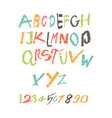 colored latin alphabet written a child vector image