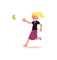 flat office worker woman running for money vector image vector image