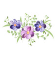 floral watercolor ornament with leaves vector image