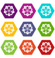 flower icon set color hexahedron vector image vector image