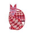 folk scandinavian style wood fox with handmade vector image