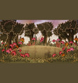 forest scene with meadow and flowers vector image vector image