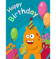 Funny yellow monster with gifts and balloons vector image vector image