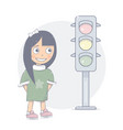 girl standing on a traffic light vector image