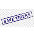grunge save tigers rectangle stamp vector image vector image