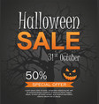hallowen sale banner with pumpkin vector image