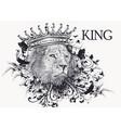 hand drawn portrait lion vector image vector image