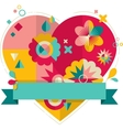 Heart with fun colorful geometric elements vector image