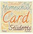 Homeschool ID Cards text background wordcloud vector image vector image