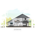 house cross section with furniture vector image vector image