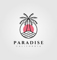 line art palm island logo design vector image vector image