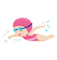 little girl swimming freestyle vector image