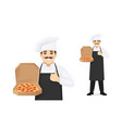 man chef with pizza vector image