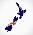 new zealand flag in map shape simplified vector image