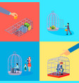 office cage concept set vector image vector image