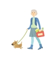 Old Lady Walking A Dog vector image